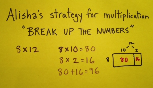 Image of teacher-made classroom sign which says Alisha's strategy for multiplication, break up the numbers, 8 times 12, 8 times 10 equals 80, 8 times 2 equals 16, 80 plus 16 equals 96, then shows an array model of that equation.